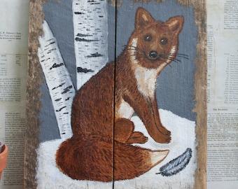 Vintage Rustic...Primitive...Cabin Fox Painting on Old Wood