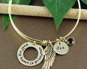Angel Wing, Personalized Bangle Bracelet - Half my heart is in Heaven Bracelet - Gold Bangle - Charm Bracelet - Remembrance Bangle Bracelet