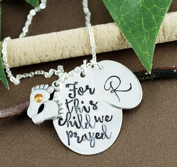 For This Child I Prayed, Mothers Necklace, Personalized Mom Necklace, 1 Samuel 1:27, New Mom Baby Feet Necklace, GIft for Mom