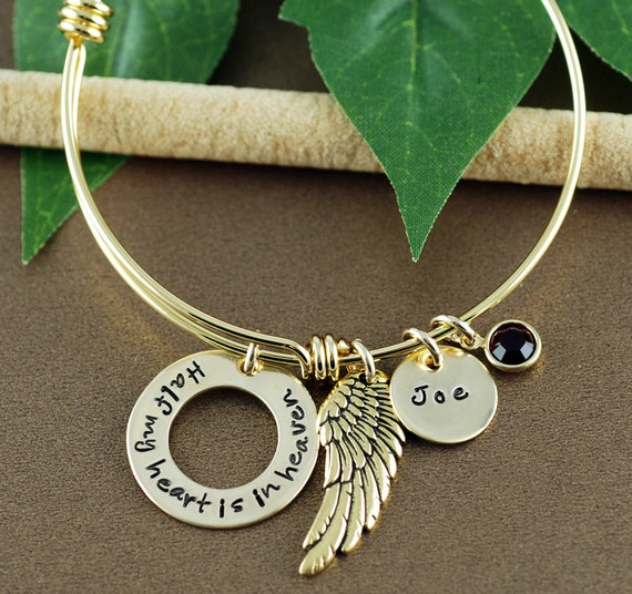Memorial Bracelet, Personalized Bracelet, Half my heart is in Heaven, Gold Bangle, Charm Bracelet, Sympathy Bracelet, Angel Wing Jewelry