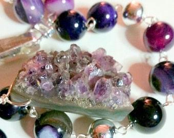 Amethyst Druzy Pendant with Purple Strip Agate Beads.