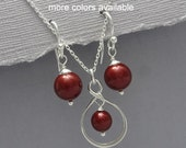 Wine Red Jewelry Set, Sangria Pearl Jewelry Set, Bridesmaid Gift, Maid of Honor Gift Wedding Jewelry Set, Red Wine Necklace and Earrings Set