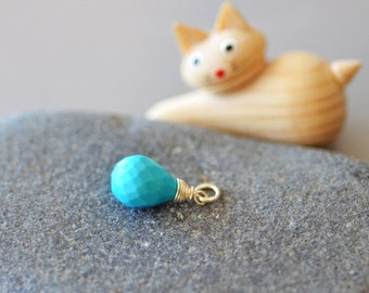 Turquoise Pendant Sterling Silver Wire Wrapped dangle only, faceted teardrop briolette, charm, no chain, open jump ring, stabilized genuine