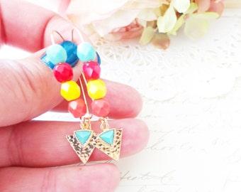 Triangle Turquoise Beaded Drop Earrings - Tri Force Geometric Dangle Earrings - Vintage Glass Beaded Dangle Earrings - Multi Color Earrings