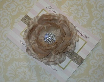 Beige Champagne Flower Headband, Baby Headband, Beige Headband, Flower Girl Headband, Girls Headband, Toddler Headband, Newborn Headband