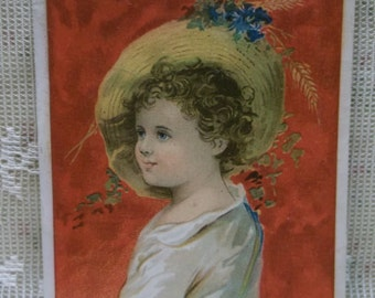 Pretty Girl-Large Straw Hat-Flowers-Curls-1889 Blank Victorian Trade Card Scrap