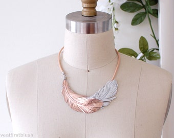 Rose Gold Feather Necklace, Boho Fringe Necklace in Rose Gold and Silver Leather, Rose Gold Jewelry, Wedding Jewelry, Bib Collar Necklace,