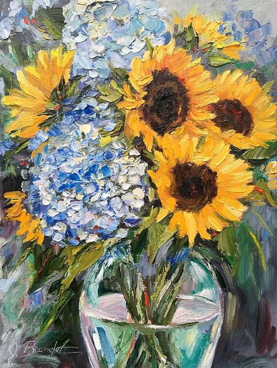 Original Oil Painting, sunflower painting,impressionist, palette knife painting, romantic art, colorful art, impasto