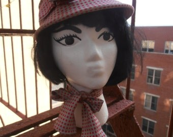 Vintage 1960s Mod Grey and Red Polka Dot Hat with Matching Silk Scarf by Hurwitch Bros Boston