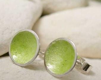Enamel Stud Earrings, Lime Green Earrings, Chartreuse Dome Earrings, Disc Stud Earrings, Enamel Silver Spring Jewelry, Summer Beach Jewelry