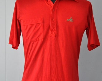 Polyester Polo 70s by Pickering Butterfly Collar Bright Red Super Soft Shirt MEDIUM