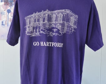 Vintage TShirt Go Hartford CT Connecticut State Pride City Purple Architecture Line Design Soft Thin Tee XL
