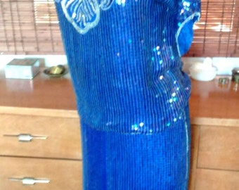 Vintage 80s does 20s blue sequin and beaded seashell blouse and skirt set M