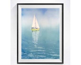 Seascape Ocean Art Prints Painting Ocean art Sailing print illustrations sailboats Nautical artwork Blue paintings WatercolorByMuren