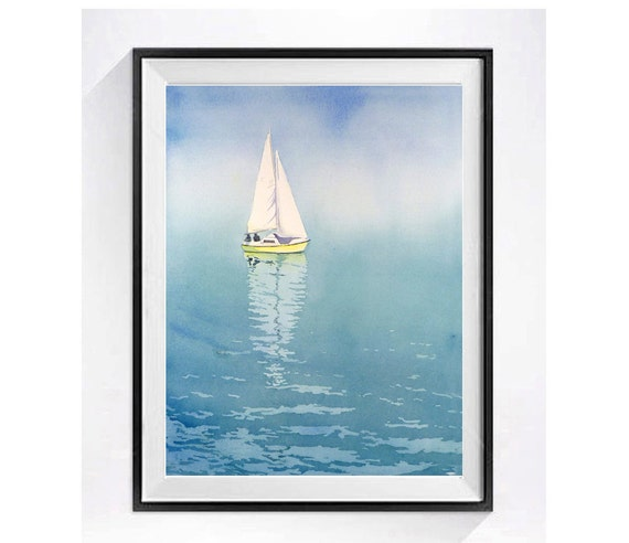 Ocean Art Sailing Poster |  Nautical artwork | Lake artwork | Sailboats | LaBerge Muren Studio