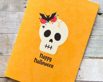 Happy Halloween Pretty Skull Card