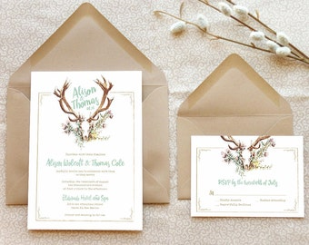 Deer Antlers Wedding Invitations - Southwestern Wedding - Rustic Wedding - Floral Wedding