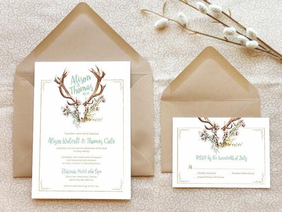 Deer Wedding Invitations: Deer Antlers Wedding Invitations Southwestern Wedding