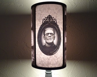 Gothic Bride Of Frankenstein lamp shade Lampshade - gothic decor, classic horror movie, goth decor,bedside lamp shade,damask,black and white