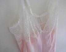 vintage lingerie, peach teddy, peach lace teddy, lace lingerie, vintage underwear, 90s does 40s, retro lace teddy
