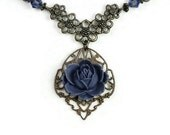 Victorian Style Necklace, Romantic Vintage Style Art Nouveau Tanzanite Vintaj Brass Pendant Necklace, Purple, Swarovski,  Gifts