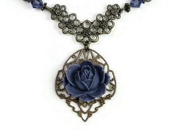 Victorian Style Necklace, Romantic Vintage Style Art Nouveau Tanzanite Vintaj Brass Pendant Necklace, Purple, Plum, Periwinkle, Swarovski
