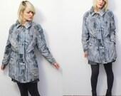80s 90s slouch parka. abstract print drawstring windbreaker jacket - medium, large