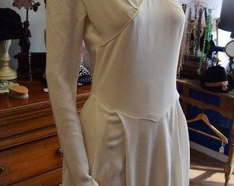 1930's Ivory Crepe Wedding Gown S