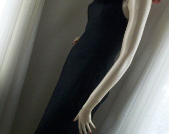 Vintage 1930s Style Elegant Goth Feathered Bodice Slinky Black Chiffon Gown Size S
