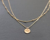 delicate necklace, dainty gold necklace, layered necklace, dainty necklace, sterling silver, hammered disc, pounded metal, satellite