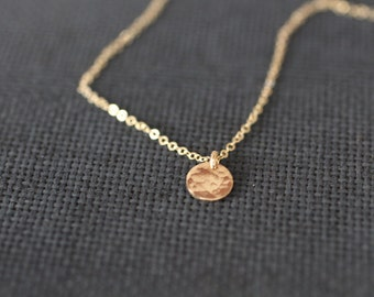 small delicate necklace, gold dainty layered necklace, tiny gold, hammered circle bridesmaids gift, tiny disc necklace, dot medallion
