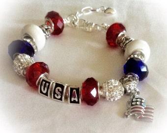 Patriotic jewelry, USA America  bracelets, Includes, PATRIOTIC  USA America handmade
