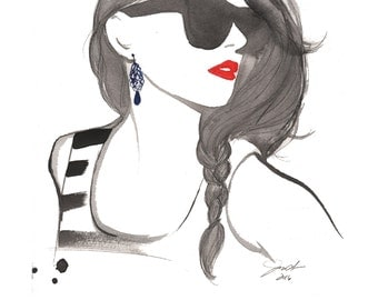Effortless, print from original watercolor and mixed media fashion illustration by Jessica Durrant