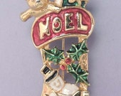 Vintage Noel Christmas Stocking Pin / Christmas Stocking Brooch / Enamel Snowman Holly Teddy Bear Candy Cane Holiday Jewelry Pin