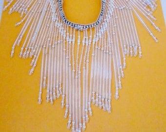 Vintage Antique Long Crystal Fringe Rhinestone An Pearls Bridal Necklace Waterfall Retro Estate Wedding Choker Collar Runway Statement