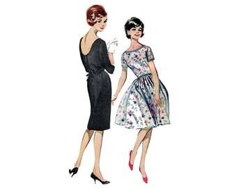 1960s Dress Pattern Full or Slim Skirt Scoop Back Little Black Day or Party Dress Butterick 9968 Junior Bust 31 Vintage Sewing Pattern
