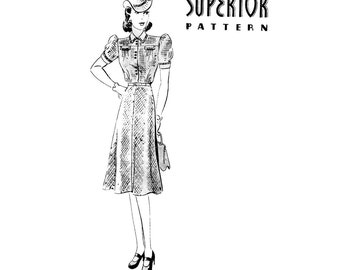 1940s Dress Pattern Short Sleeve Yoked Flat Collar Fit and Flare Day Dress Superior 9914 Bust 34 UNPRINTED Vintage Sewing Pattern