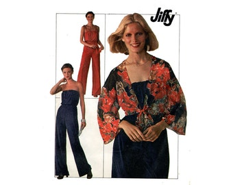 1970s Easy Tube Jumpsuit Jacket Pattern Kimono Sleeve Top Strapless Pull On Jumpsuit Simplicity 7748 Bust 30 31 Vintage Sewing Pattern