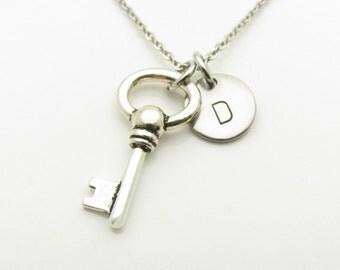 Key Necklace, Skeleton Key Necklace, Vintage Key Necklace, Antique Silver Key, Personalized, Monogram, Initial Necklace, Door Key Charm Y416