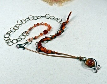 Carnelian Dreams.. Handcrafted Art Bead, Stone, Copper, Wearable Art, Boho Necklace, mcagn7