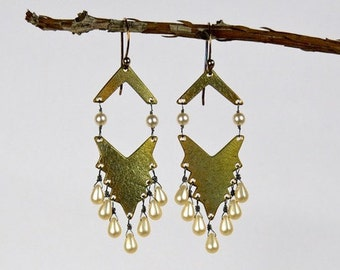 Boho Bronze Chevron, Vintage Pearls, Artisan Handcrafted, Hippie Dangle Earrings mbce48
