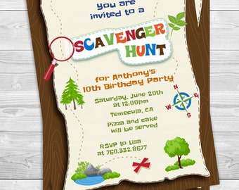 Scavenger Hunt - Printable Birthday Party Invitations