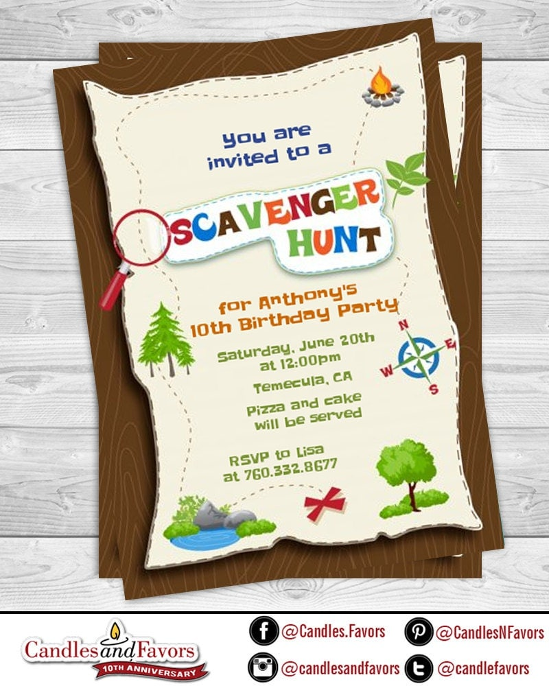 Scavenger Hunt Printable Birthday Party Invitations