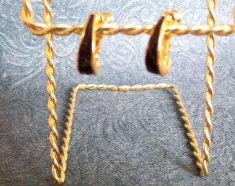 Vintage Black Enamel Clip Hoop Earrings