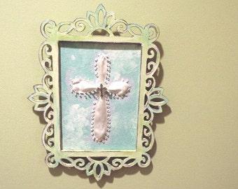 Religious Art,  Framed Cross Art, Christening Gift, Home Decor, Nursery Art, Cross for Baby's Room, Baby Shower Gift, Ribbon Cross in Frame