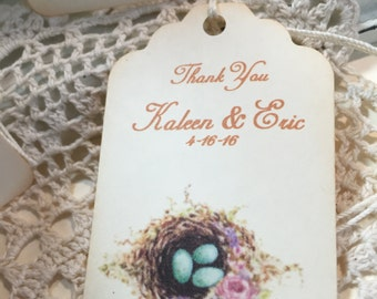 Bird Nest Wedding Favor Tags...Bird Nest Personalized Gift Tags..Name and Date Set of 12