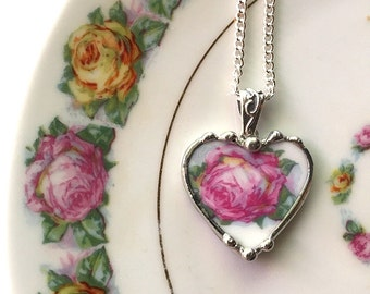 Broken china jewelry heart pendant necklace antique pink rose recycled china