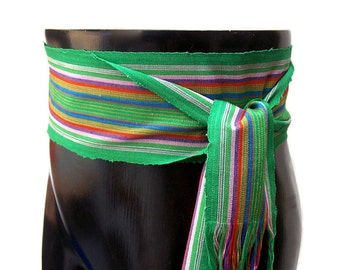 Rainbow Green Sash Belt SA62 - Woven Sash - Guatemalan Fabric - Bohemian Accessories - Ethnic Sash - Hippie Belt - Boho Gypsy Clothing