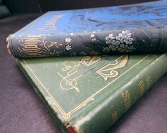 Victorian/Antique Decorative Book Pair - Flowers, Blue/Green - Instant Collection