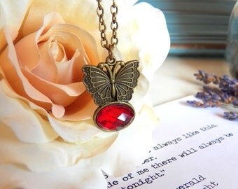 Vintage Style Butterfly Necklace, Antiqued Gold Brass Pendant, Butterfly Jewelry, Nature Inspired Gifts, Jewelry by HoneyNest